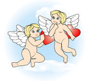Two little Cupid flying with hearts5 Royalty Free Stock Photography