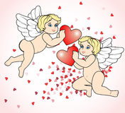 Two little Cupid flying with hearts2 Stock Images