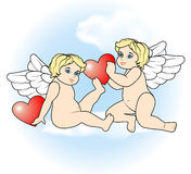 Two little Cupid flying with hearts9 Royalty Free Stock Photo