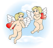 Two little Cupid flying with hearts17 Stock Photo