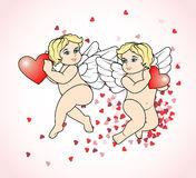 Two little Cupid flying with hearts6 Stock Image