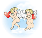 Two little Cupid flying with hearts7 Stock Photos