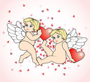 Two little Cupid flying with hearts12 Stock Image