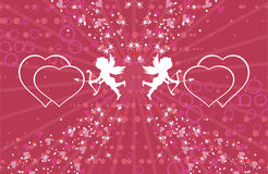 Two little cupids. Vector illustration Stock Photography