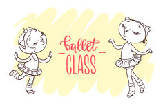 Two little cute ballerinas in ballets tutus. Inscription: ballet. Class. Hand-drawn contour for children coloring Royalty Free Stock Photo