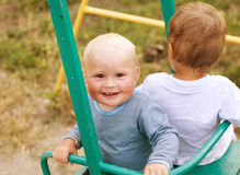 Two little cute boy playing Royalty Free Stock Images