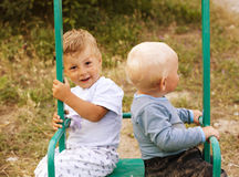 Two little cute boy playing Royalty Free Stock Photography