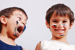 Free Two Little Cute Brothers With Colors On Their Face Stock Images - 10992024