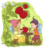 Two little cute elves lunch in the garden cafe. Cartoon book children fairytale illustration Stock Image