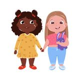 Two little cute girl friends. International friendship. Vector cartoon illustration for greeting card and poster and print and website stock illustration