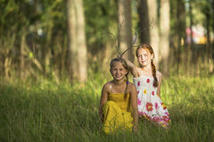 Two little cute girls posing in a pine forest. Game. Stock Image