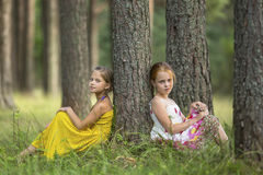 Two little cute girls sitting near the tree in a pine forest. Summer. Stock Image