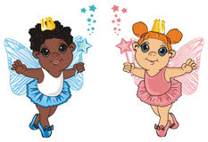 Two little fairies. Afro fairy stand with little fairy and hold a wands with a stars Royalty Free Stock Photography