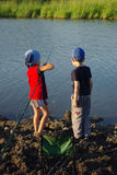 Two little fishermen Royalty Free Stock Photography
