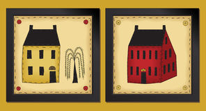 Two Little Folk Art Houses Stock Photography