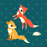 Two little foxes playing with a mouse. On graan background royalty free illustration