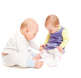 Two little friends stock images