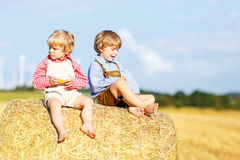 Two little friends and friends sitting on hay stack Royalty Free Stock Photos