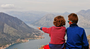 Two little friends in mountains Royalty Free Stock Photos