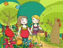 Two little friends walking n the wood. Two happy little girls walking together in a colorful wood. digital illustration stock illustration