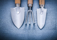 Two little garden spades and fork Royalty Free Stock Image