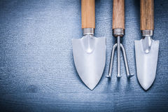 Two little garden spades and fork with copyspace Stock Photos
