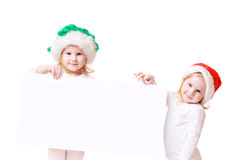 Two little girl with blank Royalty Free Stock Image