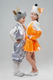 Two  little girl dressed as goats and cows Stock Photography