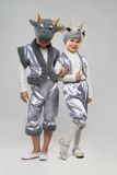 Two  little girl dressed as goats and cows Royalty Free Stock Photography
