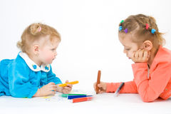 Two little girl painting Stock Photo