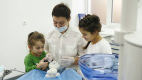Children treat a toy with dentist using different dental tools. Two little girl play the roles of dentist during a dental check-up Royalty Free Stock Photography