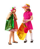 Two little girl with shopping bags Royalty Free Stock Images