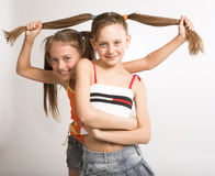 Two little girls. With long hair Stock Photo