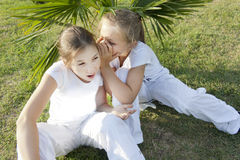 Two little girls. The little girl tells a secret to the friend Stock Image
