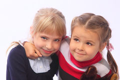 Two little girls. Two small happy nice girls Stock Photography