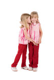 Two little girls. In red cuddling and whisper isolated on white Royalty Free Stock Images