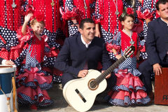 Two little girls of an Andalusian folk group. Royalty Free Stock Photography