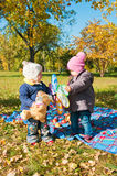Two little girls  in the autumn Stock Photos