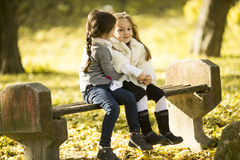 Two little girls at the autumn park Stock Photos