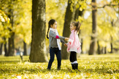 Two little girls at the autumn park. Little girls at the autumn park Stock Photography