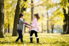Two little girls at the autumn park. View of two little girls in the autumn park Royalty Free Stock Image