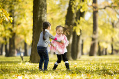 Two little girls at the autumn park. View of the two little girls at the autumn park Royalty Free Stock Image
