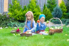 Two little girls with baskets full of harvest of Royalty Free Stock Photography