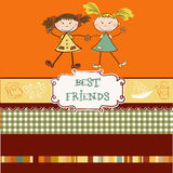 Two little girls best friends. Two cute little girls it's now best friends stock illustration