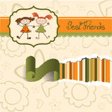 Two little girls best friends. Greeting card stock illustration