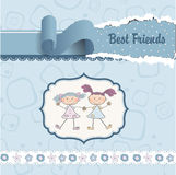 Two little girls best friends. Two ute little girls best friends now royalty free illustration