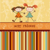 Two little girls best friends. Two funny little girls . best frients greeting card vector illustration