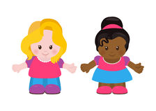 Two little girls, cartoon style Royalty Free Stock Images