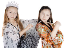 Two little girls celebrate the new year Royalty Free Stock Photos