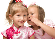 Two little girls are chatting royalty free stock photos